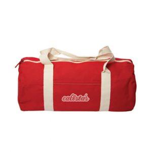 red cotton duffel bag